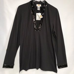 Talbots Sequin Trim Long Sleeve Top